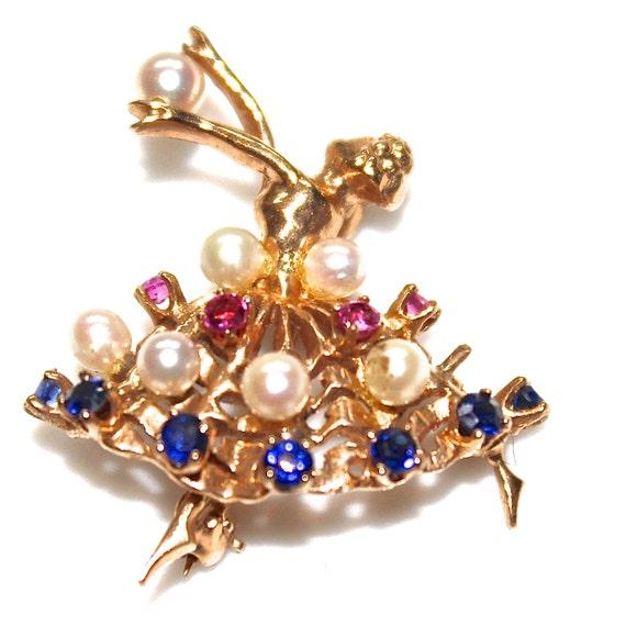 Vintage Dancer Pin - Gorgeous Ballerina Pin - Vintage 14K Gold Pin -  Pearl Sapphire Rubies Pin -  Ballerina Brooch - Real Gold Pin