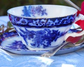 Flow Blue NOTE CARDS, Vintage Blue and White Cup and Saucer, Set of 10, Blank, Inventory Reduction SALE