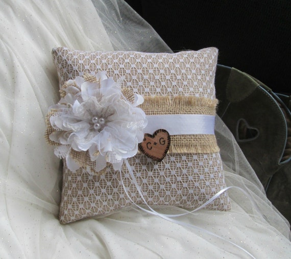 Monogram Wedding Ring Bearer Pillow: Personalized Ring Bearer Pillow Burlap And Lace Wedding