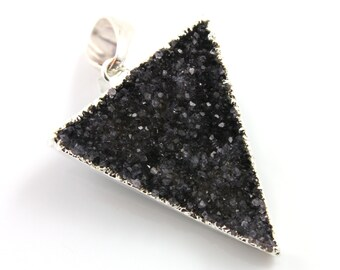 Dazzling Druzy Triangle Pendant in Stunning Earth Tones, Silver Plated, 27x35mm, A+ Gorgeous Quality, Electroplated Edge (SS-DZY/TRI/123)