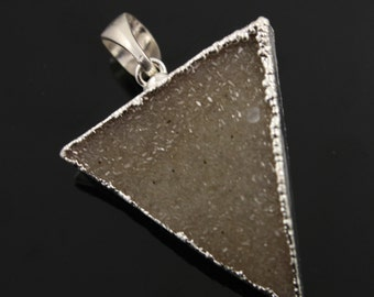 Dazzling Druzy Triangle Pendant in Stunning Earth Tones, Silver Plated, 30x33mm, A+ Gorgeous Quality, Electroplated Edge (SS-DZY/TRI/128)