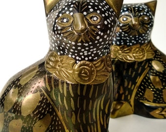 Vintage Brass Cats, Decor, Enameled And Etched, Pair