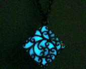 Blue Square Glow Necklace Glowing Filigree Square Jewelry Glow In The Dark Pendant Antique Bronze (glows aqua blue)