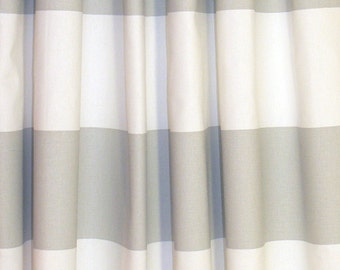 "CURTAIN DRAPERIES -Two panels of Custom Curtains Cabana French Gray Light Gray and white background  50"" wide X up to 108"" Long"