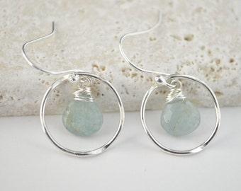 Aquamarine earrings, Blue stone earrings, Dangly earrings, Aquamarine birthstone earrings,March birthstone earrings, Bridesmaid earrings