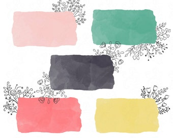 Mod Watercolor Clip Art with Doodle Florals for Digital Scrapbooking and More