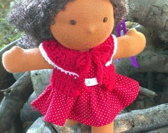 8 Inch Waldorf Doll Dress and Sweater - Red and White