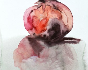 Overgrown Reflection. Fine art print. Watercolor painting of a pomegranate, Giclée on archival paper or Canvas.
