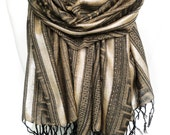Gold Scarf. Pale Brown Metallic Scarf. Fringed Winter Scarf. Greek Meander Pattern. Sparkling Silver Stripes. 27x68in (70x170cm) Ready2Ship