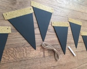 Gold Glitter Chalkboard Banner