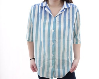 Vintage Ombre Shirt - Dip Dye / Bleached - Blue - Aqua - Striped Shirt