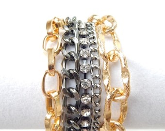 Gold Statement Bracelet chunky chain bracelet gold statement jewelry crystal rhinestone ROYALS