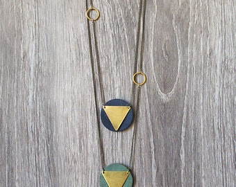 Geometric brass and leather necklace.Gold Triangle Brass Necklace with Leather. Long Chevron Necklace. Minimalist Necklace