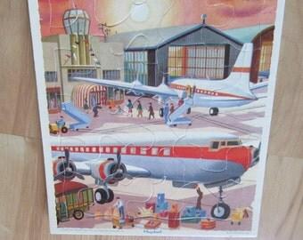 vintage PLAYSCHOOL AIRPLANE PUZZLE cardboard transportation travel ephemera kids