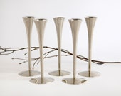 Mid Century Modern Candle Holders set of 5 Solingen Germany Art Deco Chrome silver Danish Scandinavian sleek holiday table decor shiny