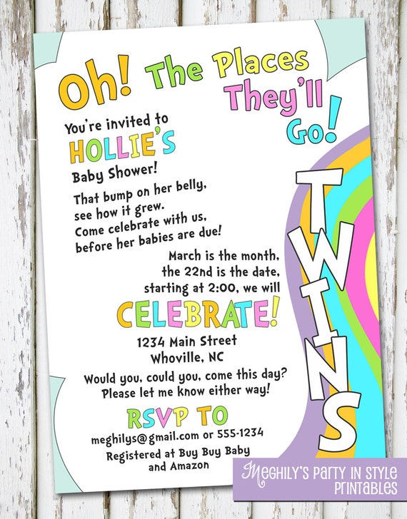 oh the places you 39 ll go twins baby shower invitation