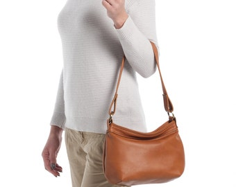 Tan leather hobo bag - Soft leather bag - Hobo purse - SMALL HELEN bag