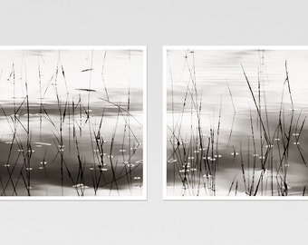 Set of 2 prints, Minimalist Black and white nature photography, Zen art, Abstract large wall art set, 12x12, 24x24, panoramic photo 12x24