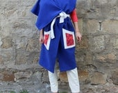 Royal Blue/White and Coral Handmade Oversized Maxi PLUS SIZE Woman Fall Winter Chic Vest
