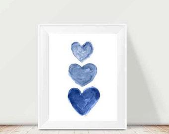 Indigo Watercolor Print 11x14, Nautical Nursery Art, Navy Blue Art, Navy Kids Decor, Midnight Blue Decor, Dark Blue Art Print, Indigo Art