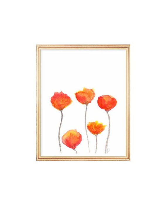 Tulip Print, Watercolor Flowers, 8x10 Art Print, Orange Decor, Orange and Red Decor, Spring Flowers, Watercolor Painting, Floral Wall Art