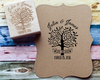 Save the Date Stamp, Wedding Favor Stamp, Personalized Tree Rubber Stamp, Summer Wedding Stamp, Wedding Invitation Stamp
