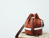 NAO - brown leather bucket bag - white leather caging- OOAK