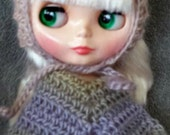 Scallop Edged Poncho  for Blythe Doll.  Choose your colorway Shown in Springtime Clothes Crochet Outfit