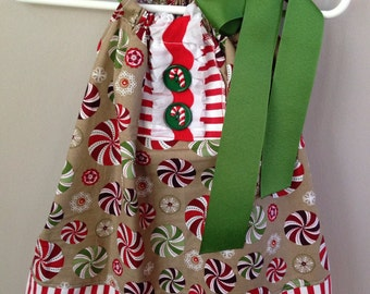 Size 12m..... Peppermint Christmas dress......Made and ready to be shipped!