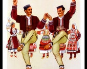 Macedonian Folk Dance Print Macedonia Dancers Men Women Ethnic Dress National Costume Kumanovo Vladimir Kirin Vintage 1950's