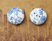 Fabric Covered Button Earrings / Wholesale Jewelry / Blue and White / Made in Brooklyn / Hypoallergenic Stud Earrings / Bridesmaid Gifts