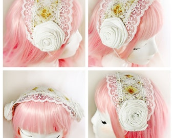 Classic Lolita Headress with White Fabric Roses Country Sweet Classic Victorian Fashion
