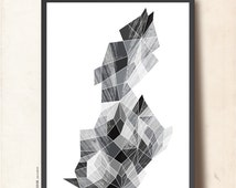 Geometric Art My Precious Gemstone Black & White. Abstract Wall Art A3. Geometric Poster, Scandinavian design inspired. TANGRAMartworks