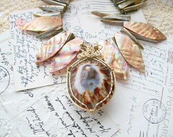Abalone Wire Wrapped Necklace - Wire Wrapped - Recycled -Spikey