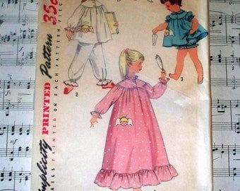 1950s Simplicity Child's Pajama and Nightgown Pattern - 1824 - Size 5 - Cut Complete