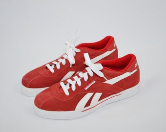 Vintage 90s Reebok Sneakers Reebok Leather Tennis Shoes Reebok Classic Shoes Red and White Sneakers Urban Streetware Hip Hop Shoes Size 10