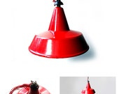 Vintage Red Industrial pendant light , italian industrial red lamp , Industrial decor.