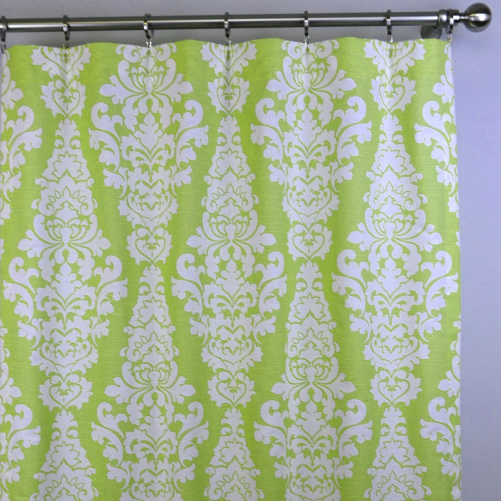 Kiwi Lime Green White Berlin Damask Curtains Rod By Zeldabelle