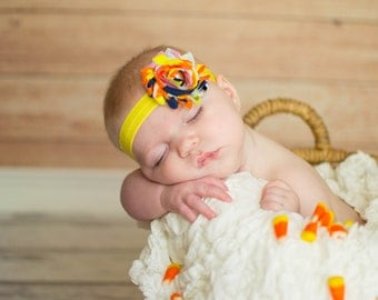 Sale! Candy Corn Halloween Headband. Baby Headband. Candy Corn Shabby Headband