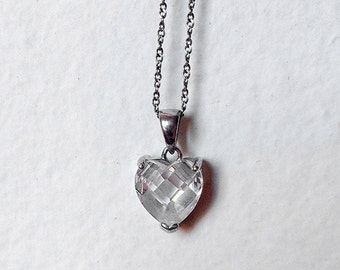 Sterling Silver Crystal Heart Necklace and Chain