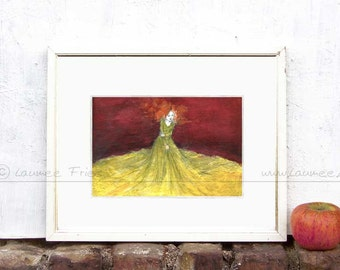 CLOTH. Small Art Print. Giclee Print of an Ink Drawing by Laumee. Whimsical wall art in orange, red and yellow. Home decor, Illustration