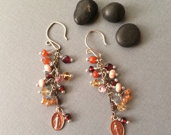 Cluster Earrings Orange Red Pink Yellow Sterling Silver Ear Wires Tiny Copper Religious Medals Semiprecious Gemstones Mixed Metal Ox Brass