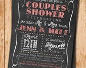 Wedding Shower Invitation. Bridal Shower Invitation. Shower Invite. Printable Invitation. Chalkboard Invite. DIY Wedding. Pink Invitation