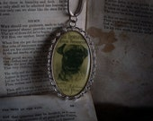 Antiqued Style Pug Dog Cameo Silver Necklace
