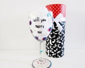 funny wine glass hand painted wine glass with decorative box.... will you marry me