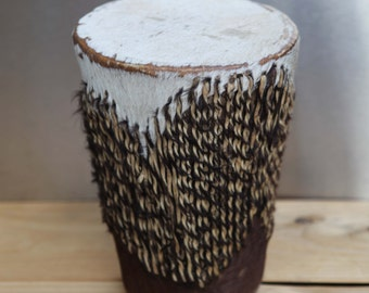 African Drum Goat Skin Stool Drum Tribal Music Hand Made Animal Hide Art with Rattle Object