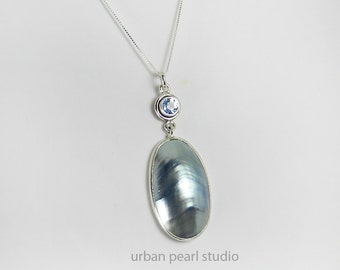 Blue Mabe Pearl Bridesmaid Necklace Blue Topaz Pendant Osmena Pearl Nautilus Shell Pendant Beach Wedding