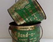 Pair of Vintage Metal Advertising Pails Buckets Shabby Rusty