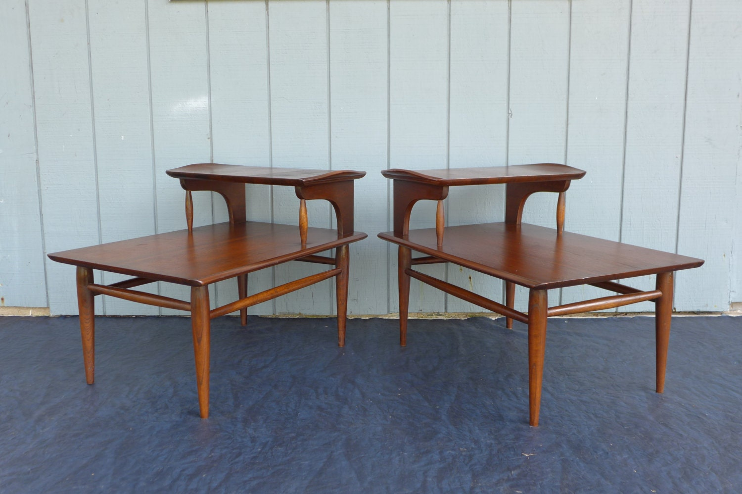Pair Of Two Tier Side Tables Bassett Solid Wood End Tables Mid
