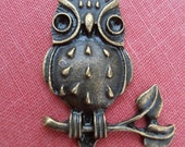 Owl on Branch - Charm Findings